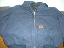 CARHARTT Navy Blue Duck Cloth Lined JACKET COAT SZ MEDIUM 376-20 #10.B22