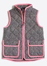J.CREW CREWCUTS Girl's herringbone pink print puffer quilt vest Sz 16
