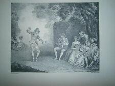 Planche gravure Le danseur aux castagnettes d'après Antoine Watteau