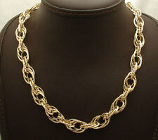 """18"""" Technibond Diamond Cut Oval Link Chain Necklace 14K Yellow Gold Clad Silver"""