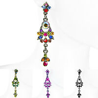 "ICON 1¾"" MULTI-COLOR GREEN PURPLE BLACK DROP CRYSTAL CUSHION SILVER EARRINGS NEW"