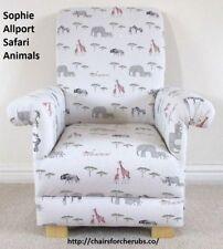 Sophie Allport Safari Animals Fabric Child's Chair Grey Armchair Giraffes Rhinos