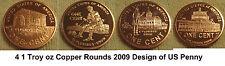 2009 Lincoln Bicentennial Pennies Copper Rounds & 2008 thru 2010 Penny Set