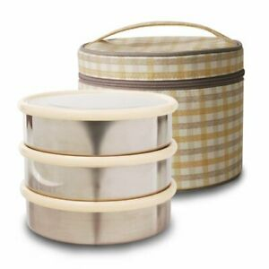 Airtight Lunch/Bento Box Stainless Container (Round/3 Layer), Made in Korea