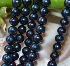 "9-10MM Black Saltwater Akoya Pearl Round Loose Beads 15"""