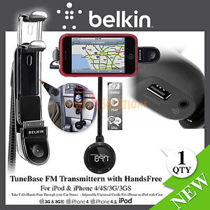 Belkin TuneBase FM Transmitter+ charger+phone holder in car for iPhone 4s+4+3