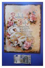 """Targa vintage """"Rockabye Baby, orso peluche, culla, rose"""", metallo, cm 33x25"""
