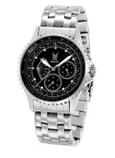 Mens Watch Day Date Large Face Silver Bracelet Big Black Dial Relojes de Hombres