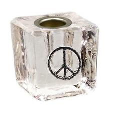 Clear Peace Sign Glass Mini Candle Holder