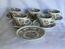 Vintage Wood & Sons Burslem England Tea Cups and saucers 11 pieces Porcelain