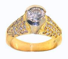 2.50ct ROUND Cut Bezel Set Diamond Wedding Engagement Ring in 14K Yellow Gold