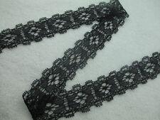 Beautiful! Double scalloped stretch lace black ribbon 10 yards free shipping