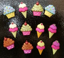 Cupcakes and ice cream 3D fridge/locker magnets  12 -piece  set