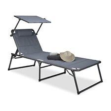 Relaxdays Chaise longue Transat Pare-soleil pliante Jardin HxLxP 37 x 70 X...