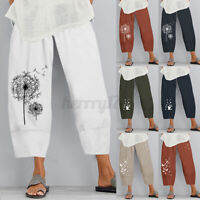 ZANZEA Womens Wide Legs Elastic Waist Pants Casual Loose Cropped Harem Trousers