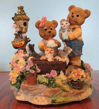 Resin Musical Figurine Bears Bathing Kittens with Birdhouse