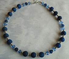 Perlen Kette Halskette Collier Polarisperlen blau dunkelblau Silber NEU