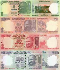 India 4 Note Set: 5, 10, 20 & 50 Rupees (2014), p-94Ac,p-102o,p-103g,p-104h UNC