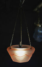 Rare 1940s pink frosted Art Deco Geometric antique fly catcher lantern light