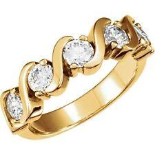 """1.02 ct DIAMOND WEDDING RING Anniversary 14K Yellow Gold """"S"""" Band 5 x 0.20 ct"""