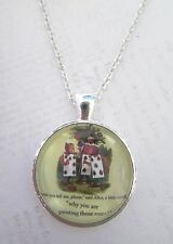 Alice In Wonderland Painting Roses Silver Pendant Glass Necklace New in Gift Bag