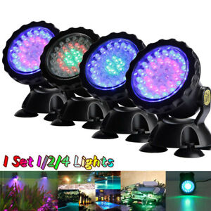 1/2/4 Lights RGB 36 LED Underwater Spot Light Aquarium Garden Fountain Pond