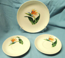 1940's Bird of Paradise Santa Anita Ware Flowers Hawaii Saucers Salad Plate VGC