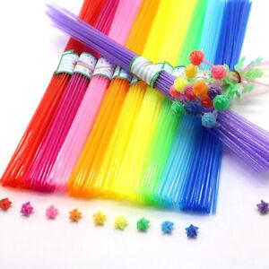 350pcs Children DIY Folded Star Plastic Straw Lucky Transparent Tube Origa^jg