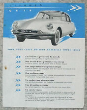 CITROEN DS 19 Car Sales Specification Leaflet 1955-56 FRENCH TEXT