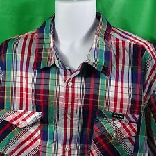 Men's Shirt Short Sleeve Kani Gold 3X XXX Plaid Red White Blue Green