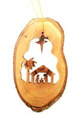 Christmas Holiday Tree Hand Carved Manger Nativity Scene Tree Bark Ornament