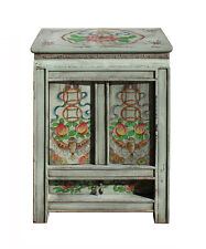 Chinese Oriental Bat Knot Coin Light Green End Table Nightstand cs2298
