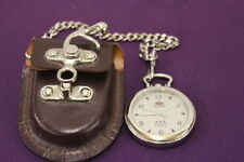 Rare Vintage Men's Orient Pocket Watch With A Leather Case 21 JEWELS