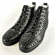 CHRISTIAN LOUBOUTIN Black Studded Spikes Red Sole Men's Sneakers Size 45