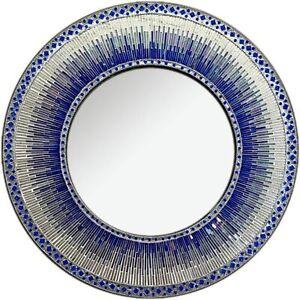 "DecorShore 24"" Round Wall Mosaic Mirror in Shades of Cobalt Blue and Indigo"