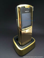 Nokia 8800 Gold Unlocked Classical GSM Mobile Cellular Phone Bundle charger base