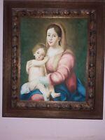 Quadro Madonna Con Bambino Dipinto a mano Con Cornice stile antico unico 61x71