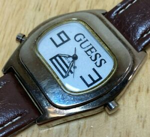 Vintage GUESS Indiglo Mens Leather Barrel Analog Quartz Watch Hours~New Battery