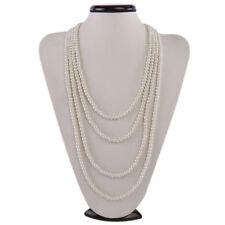 Kalse White 4 Strands Layer Pearl Statement Pendant Bib Opera  Long Necklace