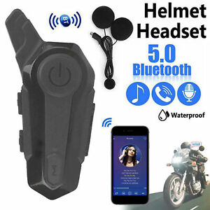 Bluetooth 5.0 Motorcycle Helmet Intercom Headset Interphone Speaker Headphone