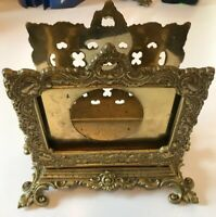 Antique Virginia Metalcrafters 7-10 Ornate Brass Letter Holder Calendar