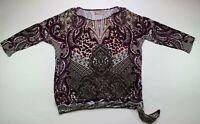 Chico's Size 2 Large Blouse Tie Front Shirt 3/4 Sleeve Purple Multi Print EUC
