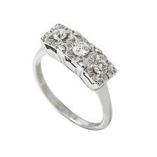 14K White Gold 0.55 Ct  Round 3 Stone Diamond Wedding Ring 2.4 Gr Size 5.5