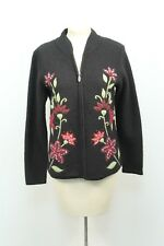 Christopher & Banks Black Boiled Wool Embroidered Zip Up Sweater Cardigan Sz M