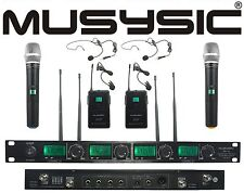 4 Channel Uhf Wireless Microphone System 2 Handheld & 2 Lapel / Lavalier Headset
