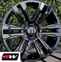 22 inch RW 2017 2018 Denali Wheels for Chevy Silverado 1500 Gloss Black Rims Set