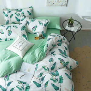 Leaf Print Green Bedding Set Duvet Quilt Cover+Sheet+Pillow Case Four-Piece HOT