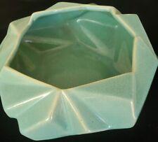 Muncie Ruba Rombic  1928  Seagreen Aqua Console Bowl #306-9