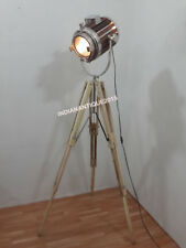 CLASSICAL WOODEN SPOT LIGHT FLOOR LAMP SEARCHLIGHT WITH TEAK TRIPOD STAND