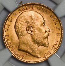 More details for choice unc ngc ms-63 1907 (london mint) king edward vii gold half sovereign